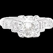 Classic Art Deco 1.45ct Diamond Engagement Ring in Platinum