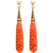 Georgian Period Carved Coral Earrings in 18K Yellow Gold