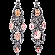 Monumental Georgian Pink Spinel & Rose Cut Diamond Earrings