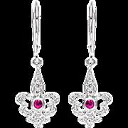 Art Deco Fleur De Lis Diamond & Ruby Earrings in Platinum