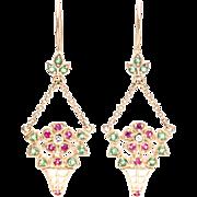 Charming Flower Basket Motif Edwardian Diamond, Ruby, & Emerald Earrings in Yellow Gold