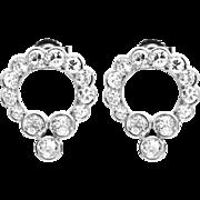 Edwardian 2.10ct Diamond Wreath Earrings in Luxurious Platinum