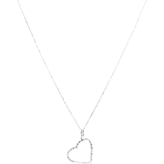 Diamond Heart Pendant Necklace in 18 Karat White Gold
