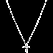 Sparkling Diamond Cross Pendant Necklace in 14K White Gold
