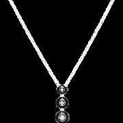 Art Deco Diamond & Onyx Pendant Necklace in Platinum