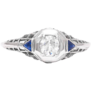 Sale! Art Deco Diamond and Sapphire Filigree Engagement Ring