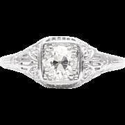 Art Deco 0.98ct Diamond Filigree Engagement Ring in Platinum