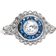 Art Deco Double Halo Diamond and French Cut Sapphire Engagement Ring, Platinum