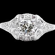 Art Deco 0.76ct Diamond Filigree Engagement Ring in Luxurious Platinum