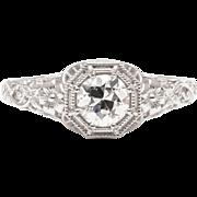 Floral Filigree Diamond Engagement Platinum Ring