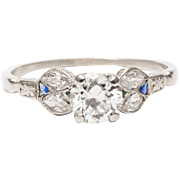Art Deco 1.48 Carat Diamond, Emerald & Sapphire Engagement Ring