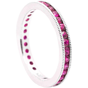 Vivacious Red Ruby 14K White Gold Eternity Band Ring