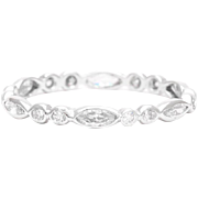 Art Deco Marquise and Round Diamond Eternity Band in Platinum