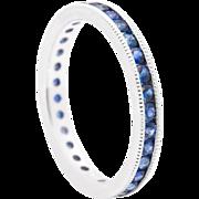 Vivacious Blue Sapphire Eternity Band 14K White Gold Ring