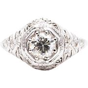 Hand Engraved Art Deco Diamond Engagement Ring in 18k White Gold