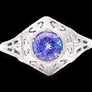 Art Deco Tanzanite Solitaire Filigree Ring in 18K White Gold