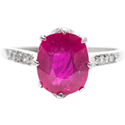 Edwardian 2.12ct Ruby & Diamond Ring in Luxurious Platinum