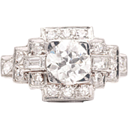 Art Deco 1.43ct Diamond Engagement Ring in Luxurious Platinum