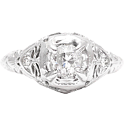 Art Deco 0.59 Carat Diamond Filigree Engagement Ring in 18k White Gold