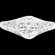 Art Deco 0.90 Carat Diamond Solitaire Engagement Ring in Platinum