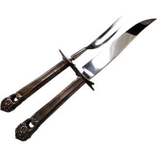 1941 Eternally Yours Large Stainless Blade Roast Carving Knife  & Fork by International Silver 1847 Rogers Bros.