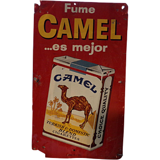 Vintage Fume Camel Advertising Metal Sign