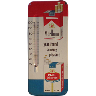 Vintage 1950's metal Marlboro / Philip Morris Thermometer Tobacco Advertisement Sign