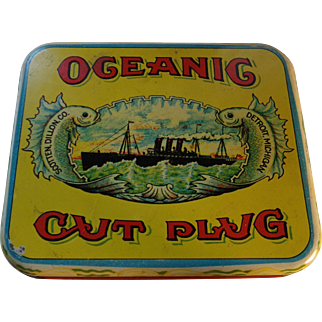 Vintage OCEANIC CUT PLUG Tobacco Tin, Detroit, Scotten, Dillion, CO