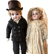 Bride and Groom Antique Bisque Head Dolls - Red Tag Sale Item