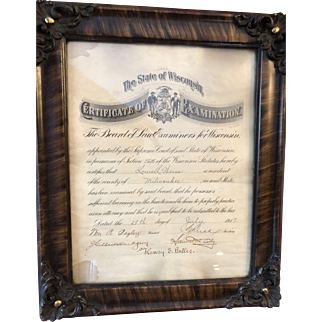 Ornate Picture Frame with Lawyer's Certificate