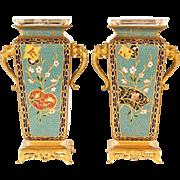Pair of French Green Japonisme Bronze Ormolu and Champlevé Cloisonné Enamel Vases