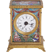 Antique French Limoges Enamel Enameled Musical Desk Clock