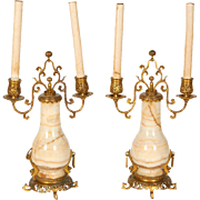 Pair of French Japonisme Ormolu and Onyx Candelabra Signed F. Barbedienne