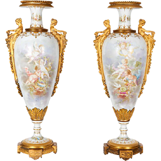 Monumental Pair of French Ormolu-Mounted Sevres Style Porcelain Vases Collot