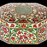 22-Karat Indian Gold Enamel and Diamond Pill Snuff Box Jaipur Mughal Style SQ