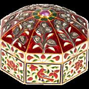 22-Karat Indian Gold Enamel and Diamond Pill Snuff Box Jaipur Mughal Style