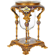 French Ormolu and Champleve Cloisonne Enamel Glass Candle Holder Moorish Style