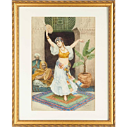 "Fabio Fabbi ""The Tambourine Dancer"" Orientalist Watercolor"