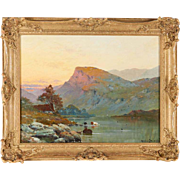 Alfred de Breanski Sr. Oil Painting Nantile Lake North Wales