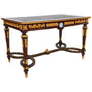 French Ormolu and Jasperware Wedgewood-Mounted Mahogany Center Table Desk