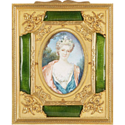 French Gilt Bronze Ormolu and Green Guilloche Enamel Picture Photo Frame