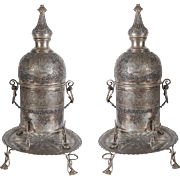 Pair of Antique Islamic Persian Silver Incense Burners with Arabic Calligraphy