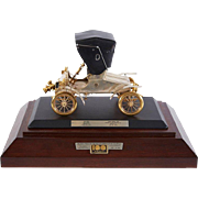 """Rare Sterling Silver and Gold 1903 Scale Model """"A"""" Ford with Diamonds and Rubies"""