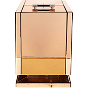 French Art Deco Beveled Mirrored Glass Nickeled Brass Bar Cabinet, 1930s