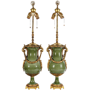 Pair of French Ormolu Bronze-Mounted Chinese Style Celadon Porcelain Table Lamps