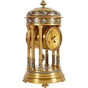French Cloisonne Champleve Enamel Round Mantle Clock with Columns