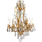 Exceptional French Ormolu Bronze Baccarat Glass Crystal Fifteen-Light Chandelier