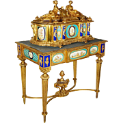 Rare Important French Ormolu Sevres Style Porcelain Jewelry Box on Bronze Table