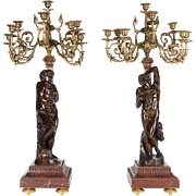 Ferdinand Barbedienne, a Large Pair of French Gilt Patinated Bronze Candelabras