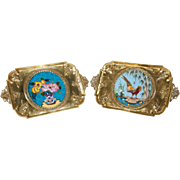 Rare Pair of French Japonisme Bronze & Cloisonne Enamel Trays by Edouard Lièvre
